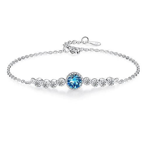 APCHY Ocean Heart S925 Pulsera De Plata Esterlina Moda para Mujer All-Match Austrian Crystal Pulsera Estudiante Joyería El Día De Madre Novia Regalo De Cumpleaños Y Día De San Valentín,Azul