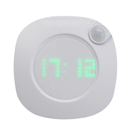 TOOGOO Bewegungsmelder Nachtlicht mit Uhr Batterie Leistung PIR-Sensor Zwei Licht Farben Einstellbare Helligkeit Magnet Nachtlicht