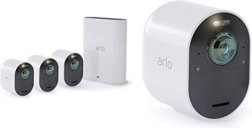 Arlo Ultra Überwachungskamera & Alarmanlage, 4K UHD, 4er Set, Smart Home, kabellos, Innen/Außen, Farbnachtsicht, 180 Grad Blickwinkel, WLAN, 2-Wege Audio, Spotlight, Bewegungsmelder, (VMS5440) - Weiß