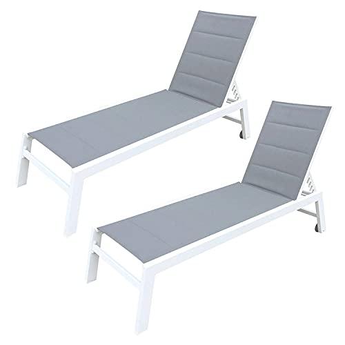 BAISAO - Bain de Soleil Droit Textilène Aluminium - Inclinable et Confortable - Léger et Facile à Déplacer - roulettes Arrière - Gris/Blanc - X2