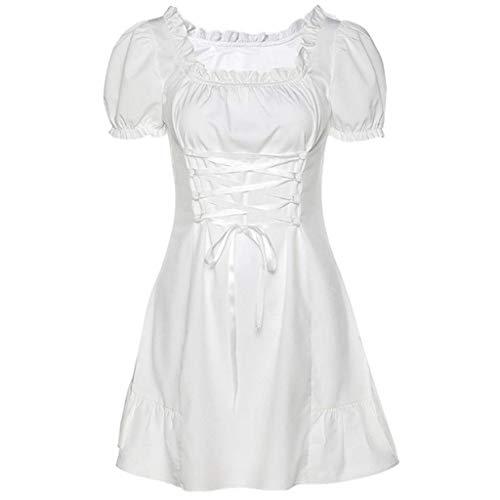 Damska bufiasta sukienka z kwadratowym dekoltem, sznurowana talia, falbany, biała mini sukienka trapezowa