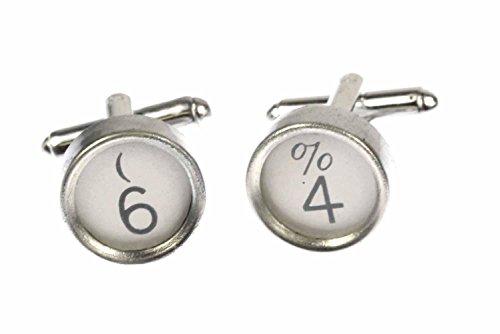 Miniblings Wunschzahl Manschettenknöpfe Schreibmaschinentasten Zahl weiß 1+?, 2. Zahl:4