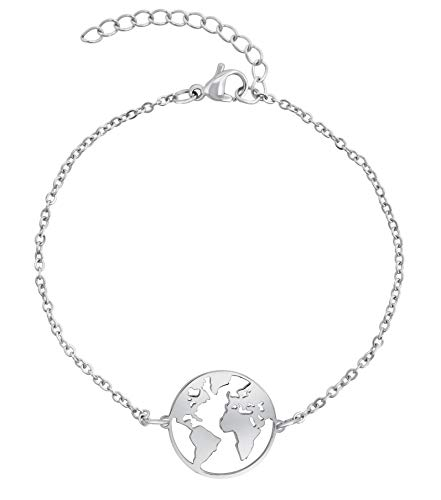 Nuoli® Armband Weltkugel Silber (15+5 cm) Welt Armkette für Frauen