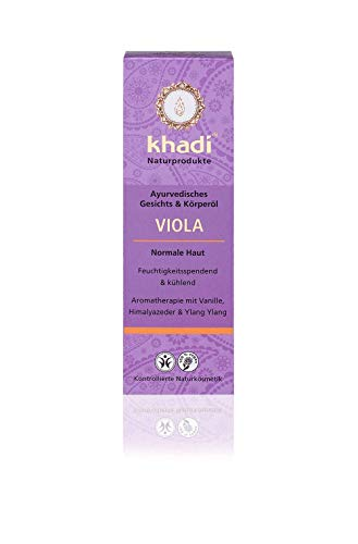 khadi Viola Körperöl 100ml I duftendes Gesichts & Körperöl für normale Haut I wirkt feuchtigkeitsspendend & kühlend I ayurvedisches Massageöl I 100% pflanzlich