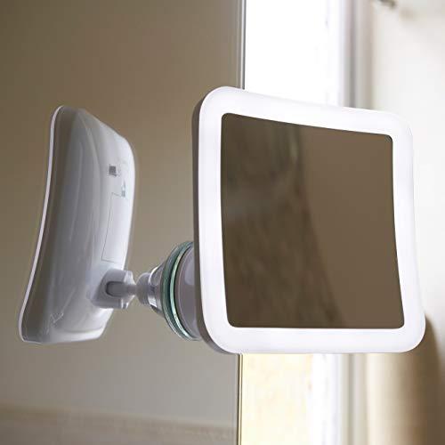 Auraglow Kabelloses Beleuchtetes 10X Vergrößerungs Rasier-Make-up-Schönheit-Badezimmer-Spiegel mit LED-Licht & Verriegelbaren Saugnapf