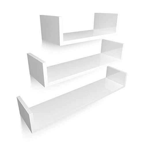 HOMFA Mensola Supporto da Parete in MDF, Set Di 3 Mensole da Muro Scaffale Libreria CD 60/45/30 cm, Carico 20 kg Bianco