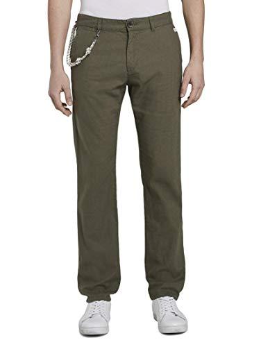 TOM TAILOR Herren Cotton Linen\' Hose, Olive Night Green, 32W / 32L