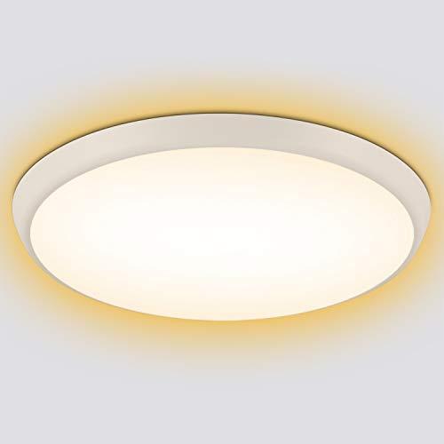 Oeegoo LED Deckenleuchte Warmweiß, 18W 2000LM LED Badlampe 2700K, IP54 Wasserfest Deckenlampe Für Küche Badezimmer Wohnzimmer Korridor Balkon Flur Esszimmer Schlafzimmer Kinderzimmer, Ø25cm