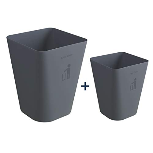 Creative classificatie prullenbak Office Paper mand Household Woonkamer Keuken Slaapkamer Badkamer Grote afvalbak Stuur een set van de classificatie borden (6 in totaal) (Color : Gray, Size : L+M)