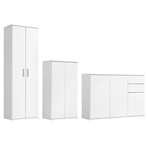 mokebo® Mehrzweckschrank Set \'Die Allzweckwaffe\', Moderne Wohnwand oder Schrank-Set, Made in Germany & klimaneutraler Versand, Weiß -11, 3er-Set
