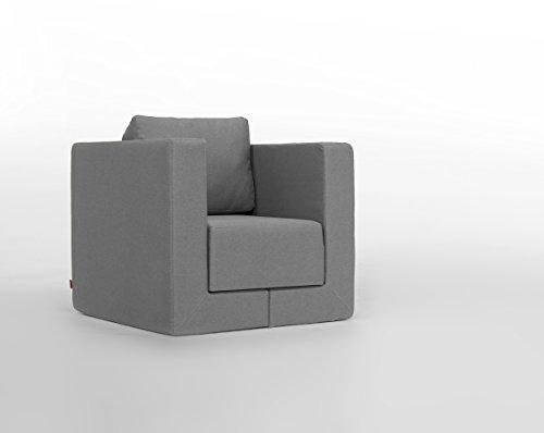 FEYDOM Verwandlungssessel Schlafsessel Loungesessel Lesesessel Gästebett Liege Q6 Webstoff Mittelgrau, German Design Award Nominee 2013, Design-Sessel zum relaxen