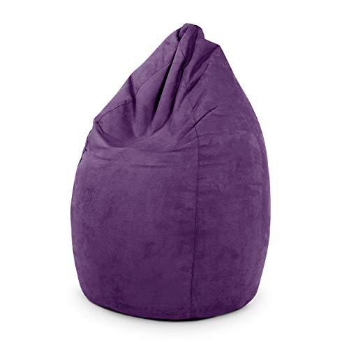 Green Bean © Drop Sitzsack 60x60x90 cm - 220L - Indoor - Sitzhöhe 50 cm, Rückenlehne 40 cm - waschbar, schmutzabweisend, abwischbar - Sitzkissen Bean Bag Gaming Sessel - Wildleder Optik - Lila