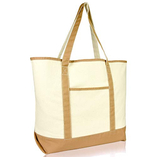 22' Heavy Duty Deluxe Tote Bag with Outer Pocket (Brown)