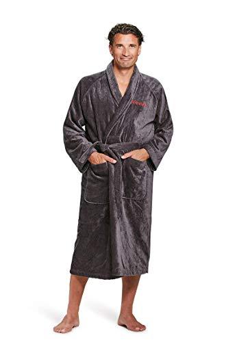 Badrock - Bademantel mit Namen Bestickt - Grau - 100% Baumwolle - Herren und Damen - mit Stickerei - Personalisiert (XXL) - SKU 595