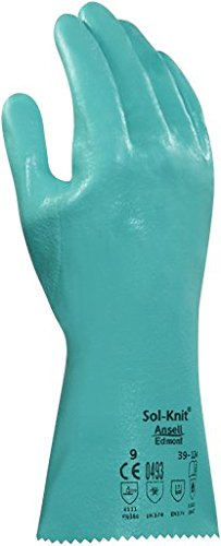 Ansell 3912410 Sol-Knit 39-124 Nitrile Coated Gloves, 16' Length, 5' Width, 0.38' Height, Size 10, Green (Pack of 12)
