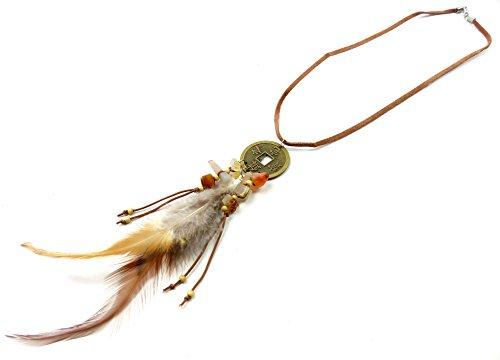 Damen-Halskette Karneval-Fasching Indianer Kostüm Feder-Schmuck braun