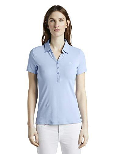 TOM TAILOR Damen Poloshirts Poloshirt mit Kleiner Stickerei Parisienne Blue,S,12819,6000
