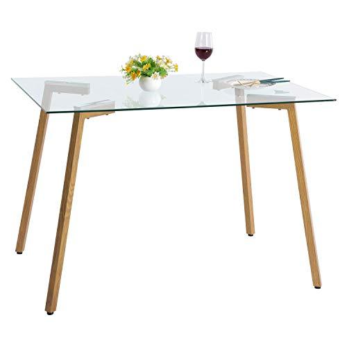 IPOTIUS - Mesa de comedor rectangular de cristal escandinavo, mesa de cocina con patas de metal, 110 x 70 x 75 cm
