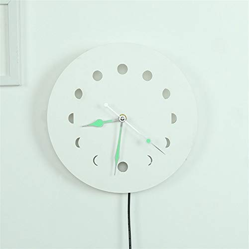 Luminous Wall Clock,Nordic Design Creative Lunar Eclipse Wall Clock with Backlight Moon Phase Wall Clock Battery Powered Wooden Mute,Wall Decor for Bedroom,Clocks for Living Room Decor(A)