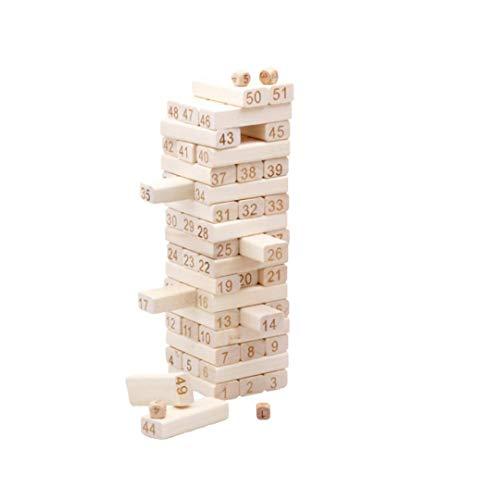 Macro Giant Hölzerner Tumble Tower mit arabischer Nummer, 51 Stück, Spielen und Lernen, Stapelspiel, Jengdile, Bausteine, Partyspiel, Klassisches Holzspiel