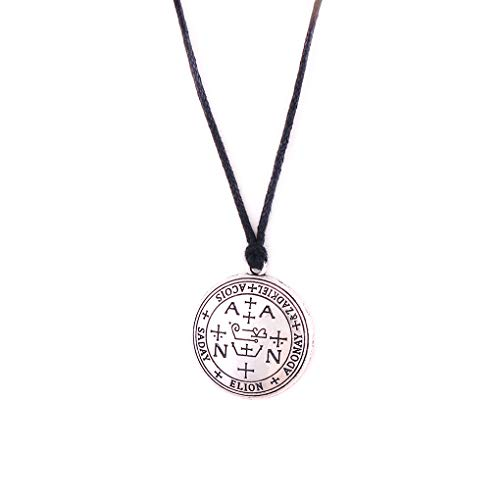 FAIRY ELVEN Men's and Women's-Lemegeton Gothic Style - Archangel Sigil Pendant Braided Rope Chain - Enochian Amulet