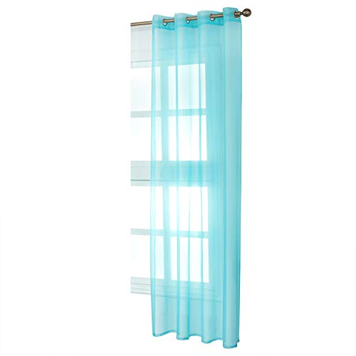 WOLTU Cortinas Transparente con Ojales Bufanda para adornar Ventana salón habitación y Dormitorio Moderno Anti-UV Respirable (1 Pieza) 140x225cm Turquesa VH5513ts