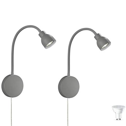 2er SET Leseleuchte, Wandlampe, Wandleuchte, Spiegelleuchte, Lampe, Leuchte, Bettleuchte, Bettlampe Leselampe grau Schwanenhals Flexarm LED