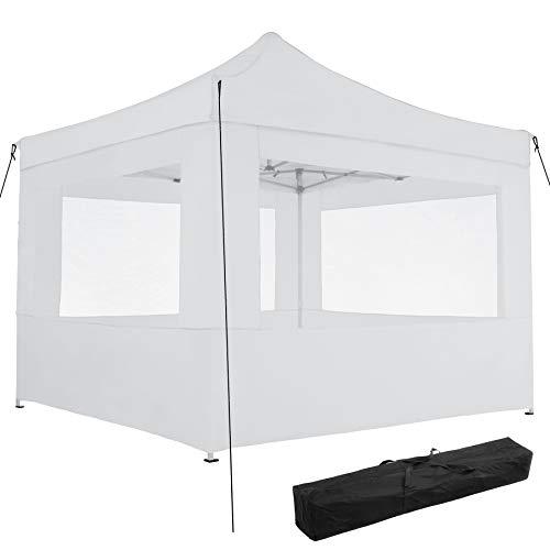 TecTake 800686 Aluminium Faltpavillon 3 x 3 m, klappbar, 100% WASSERDICHT, höhenverstellbar, mit 4 Seitenwänden, inkl. Spannseile, Heringe und Tasche – Diverse Farben - (Weiß | Nr. 403153)