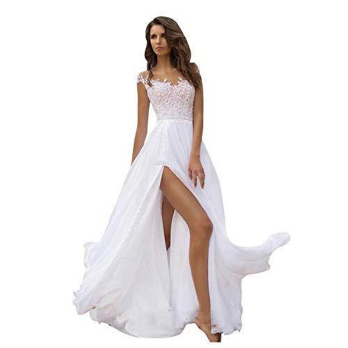Dwevkeful Abendkleider Damen Elegant V-Ausschnitt A-Linie Spitzenkleid Chiffon Lang Cocktailkleider Abschlussballkleid Partykleid Maxikleider Hochzeitskleid