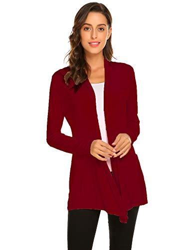 Newchoice Womens Casual Lightweight Long Sleeve Cardigan Sweaters Soft Drape Open Front Long Cardigans Dusters Plus Size (Wine Red, XXL)