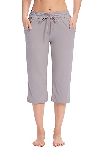 Poetsky Capri Yoga Pants for Women Wide Leg Elastic Waist Drawstring Workout Crop Sweatpants Comfy Lounge Pants with Pockets (Light Gray, L)