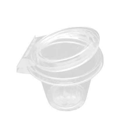 12 oz. Clear Round Plastic Safety Fresh Car Cup Container with Flat Lid - 256 per case