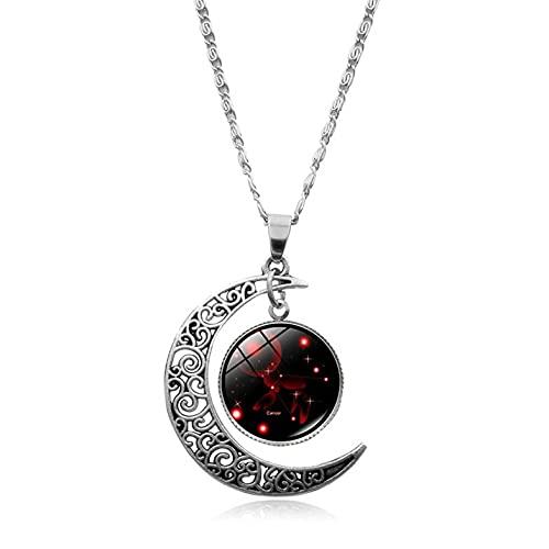BigBigHundred Collar de 12 Constelaciones, Colgante de Luna Creciente, Galaxia, Zodiaco, astrología, horóscopo, Encanto, Collares de Moda de Verano