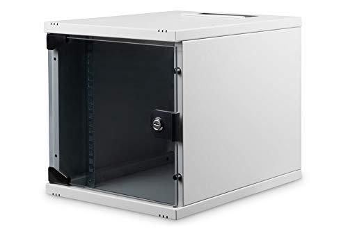 DIGITUS Netzwerk-Schrank 10-Zoll - 6HE - Wandmontage - HxBxT 330x312x400mm - Traglast 30kg - Nutztiefe 309mm - Grau