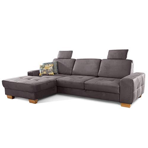 Cavadore Ecksofa Puccino mit Federkern, verstellbarer Sitztiefe und 2 Kopfstützen / Sofa in L-Form im Landhaus Design / 281 x 86 x 178 cm / Mikrofaser grau