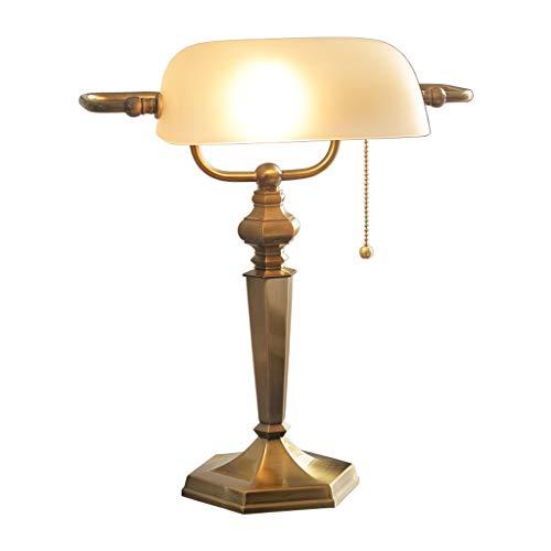 Lampara Mesilla Lámpara de mesa E27 retro clásica, lámpara de mesa con pantalla de vidrio Lámpara de mesa con base de hierro forjado, para dormitorio, estudio, lectura en casa Lámpara de Mesa