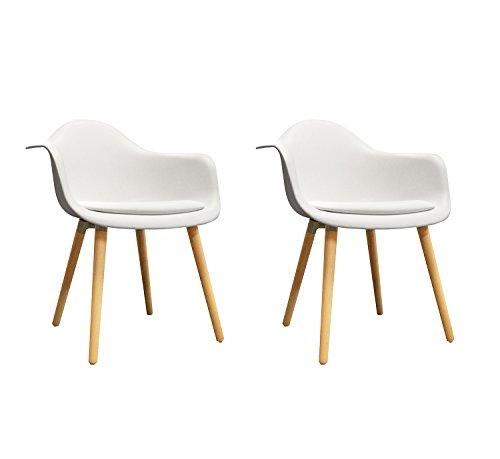 Meubletmoi Juego de 2 sillas blancas con reposabrazos – Sillones de diseño vintage escandinavo – Patas de madera – Cómoda y robusta – Hans