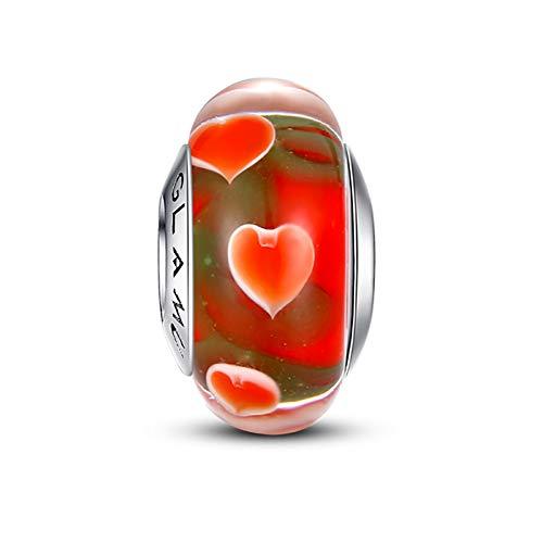 Glamulet Murano Glass Charms Beads for Pandora Bracelets Pandora Charm 925 Sterling Silver Disney Art Pendant Jewelry (Red Hearts)