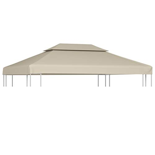 vidaXL Gazebo Cover Replacement Beige 3x4m Waterproof Patio Canopy Tent Top