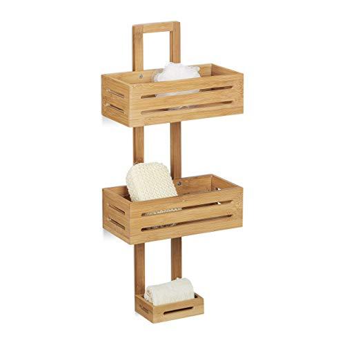 Relaxdays Estantería de Ducha con 3 Niveles, Bambú, Beige, 15.5x28x65 cm