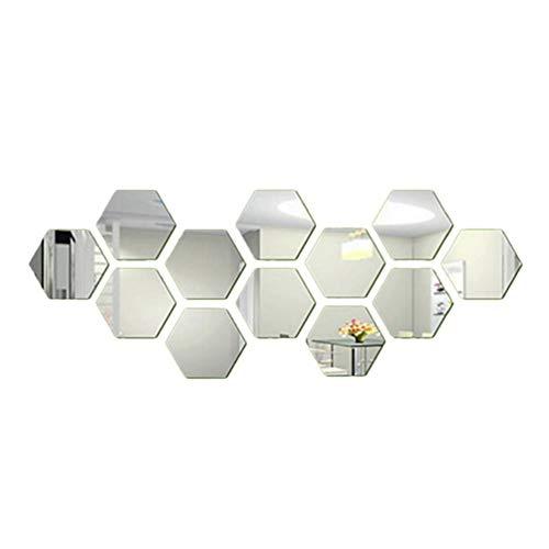 12 piezas espejo acrílico pegatinas de pared autoadhesivo extraíble hexagonal espejo decorativo hoja para el hogar sala de estar dormitorio decoración por mosca