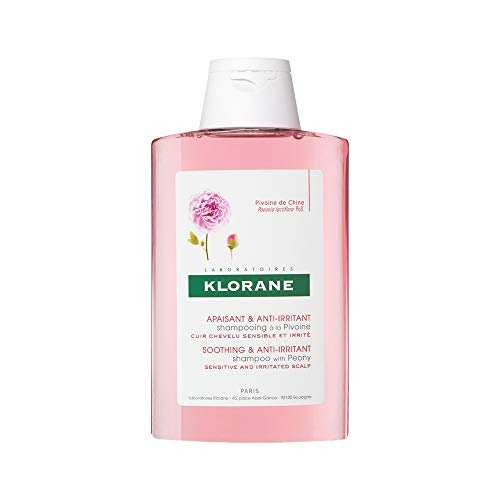 Klorane Shampoo with Peony, Soothing Relief for Dry Itchy Flaky Sensitive Scalp, pH Balanced, Provides Scalp Comfort, 3.3 Fl Oz