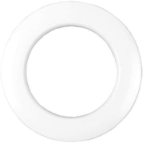 Bestlivings 20 Weiße Gardinenösen (inkl. Schablone) für 40 mm Stoffloch, verwendbar für alle Stoffstärken Schlagösen Kunststoffösen Ösenset Rundösen Vorhangringe