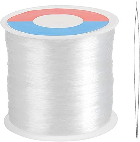 DRERIO 500m klarer Nylonfaden 0,3mm Polyamidfaden Starker Nylondraht Transparente Schnur zum Aufhängen, Schmuckherstellung, Nähgarn Durchsichtig Transparenter Perlenfaden mit Perlennadel