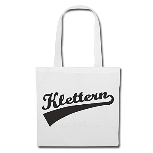 Tasche Umhängetasche Klettern - Bergsteiger - KLETTERHALLE - KLETTERGERÜST - KLETTERBAUM Einkaufstasche Schulbeutel Turnbeutel in Weiß