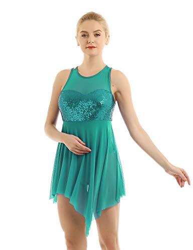 iiniim Tutu Robe de Danse Latine Jazz Asymétrique Robe de Soirée Cocktail Paillettes Femme Justaucorps Ballet Gymnastique Vêtements de Danse Classique Grande Taille XS-XL (X-Small, Vert Foncé)