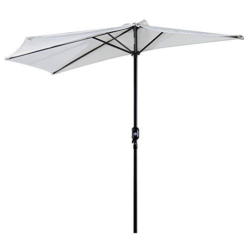 Outsunny Sombrilla 269x138x236 cm Parasol de Jardín con Manivela y Forma Semicircular para Exterior Terraza Patio Piscina Crema
