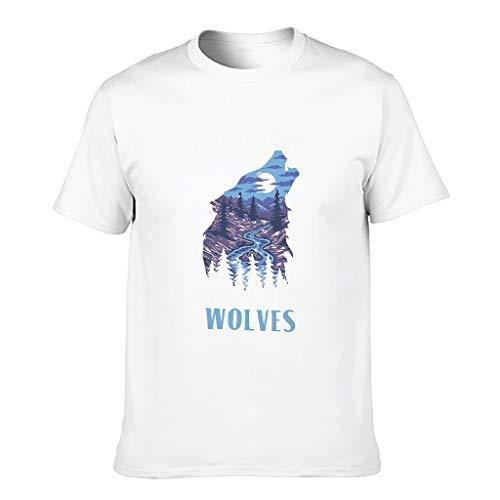 Camiseta de algodón para hombre, diseño con texto 'Just A Girl Loves Wolves', multicolor blanco L