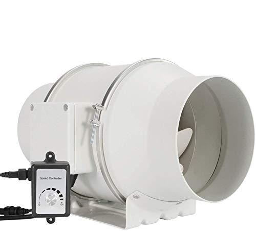Regelbar Abluftventilator 150mm - HG POWER Stark Inline-Lüfter mit Ventilator Drehzahlregler Energiesparend Rohrventilator Leise Kanalventilator Badlüfter Rohrlüfter für Küchen Badezimmer Garage etc