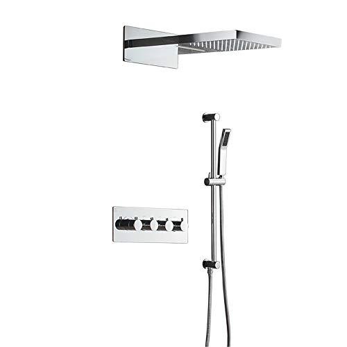 Set de ducha de lluvia con termostato, de latón, cromo, para bañera, ducha o baño